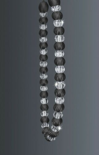 One Crystal Beaded Modern Curtain Rope Tie Back, Decorative Holdback, Charcoal